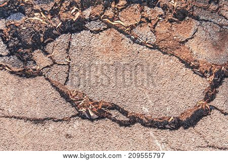 Cracked asphalt holes road old area background