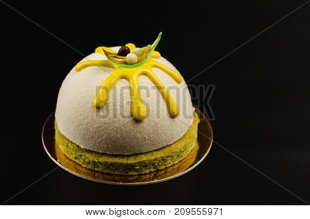 Mousse Pastry Dessert In White Chocolate Velour Covering