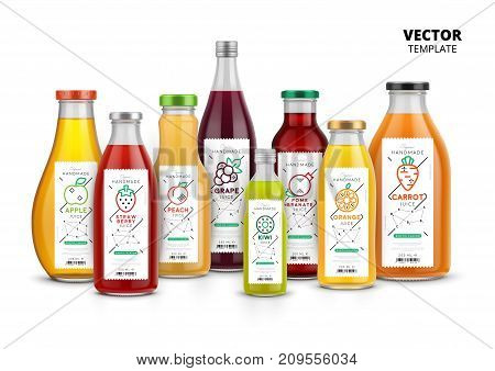 Fresh juice realistic glass canned bottle set. Healthy organic product, natural vegan nutrition vector packaging mockup. Layout of food identity branding, packaging design for fresh fruit juice