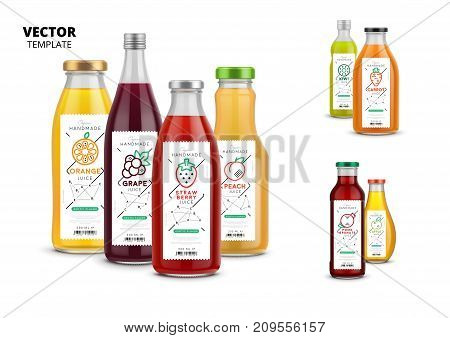 Apple, kiwi, pomegranate, orange, grape, carrot, peach and strawberry fresh juice packaging set. Realistic glass bottles with labels. Healthy organic product, natural vegan food vector illustration