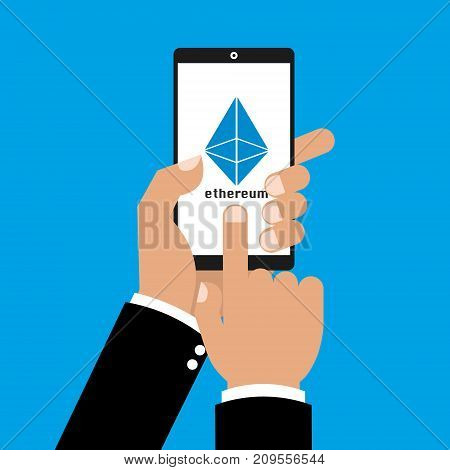 Business man hand with smartphone and finger touching screen to cryptocurrency ethereum coins. Vector illustration Cryptocurrency mining concept.