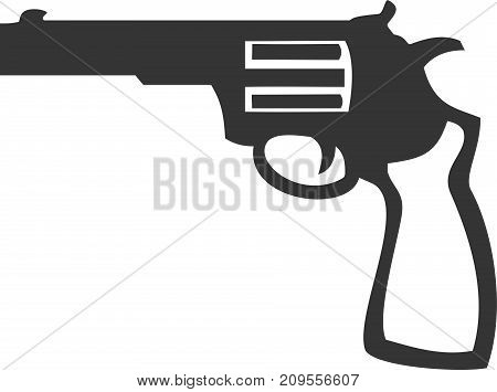 Simple Gun - Revolver Pistol. Personal Safety and Self Defense Sign, Label or Logo. Social Issues and Controversy. Police, Western, and Military Weapon.