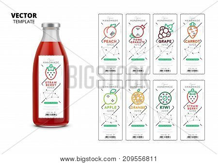 Fresh juice realistic glass bottle with labels set. Layout of food identity branding, packaging design for fresh fruit juice. Healthy organic product, natural vegan nutrition vector illustration
