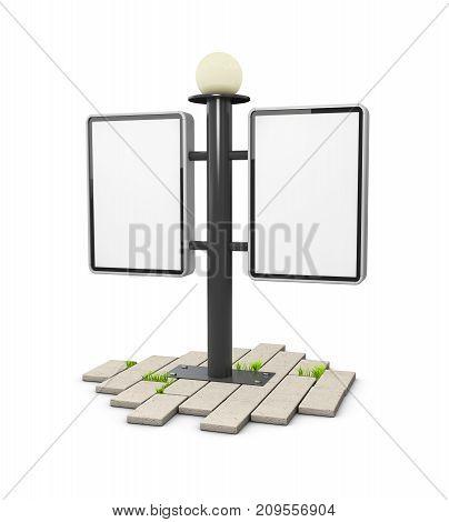 3D Illustration Of Blank Outdoor Light Box On The Cobblestone