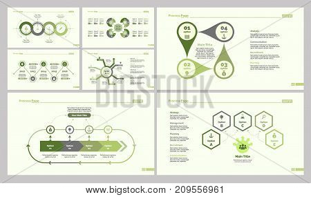 Infographic design set can be used for workflow layout, diagram, report, presentation, web design. Business and strategy concept with process, cycle, pie, flow, timing, option and percentage charts.