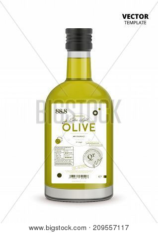 Premium extra virgin olive oil realistic glass bottle with label. Layout of food identity branding, modern packaging design. Healthy organic product, natural vegetarian nutrition vector illustration