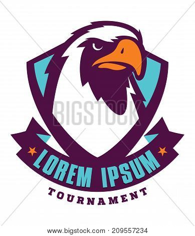 Eagle sport logotype for college team. Isolated on white background
