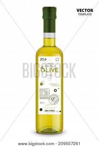 Organic extra virgin olive oil realistic glass bottle with label. Layout of food identity branding, modern packaging design. Traditional healthy product, natural vegan nutrition vector illustration