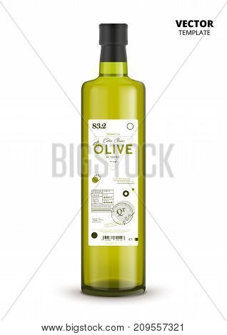 Premium quality extra virgin olive oil realistic glass bottle with label. Layout of food identity branding, modern packaging design. Healthy organic product, natural nutrition vector illustration