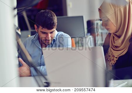 Startup business people group working everyday job at modern office. Tech office, tech company, tech startup, tech team