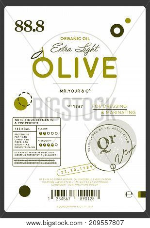 Premium quality extra virgin olive oil label. Layout of food identity branding, modern packaging design. Healthy traditional product, organic vegetarian nutrition vector illustration