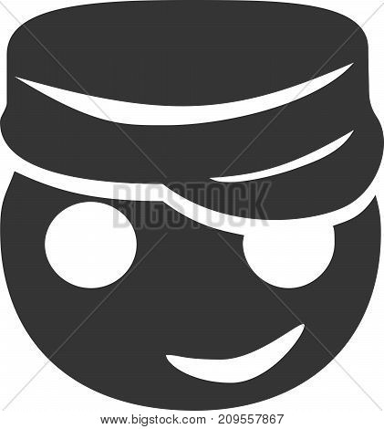 Cargo Hat - Happy Face Smiling. Apparel Salesman Employee Emoticon / Emoji. Driver Enjoying Life. Edgy Fashion Cartoon. Sign or Label for Friendly Service or Employee Help / Assistance. Eyes, Mouth and Head / Headpiece as Shadow Silhouette. poster
