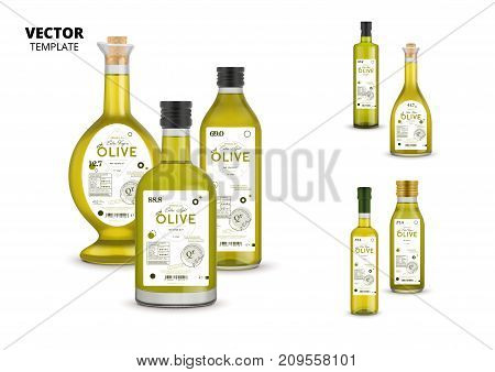 Premium extra virgin olive oil realistic glass bottles with labels. Layout of food identity branding, modern packaging design. Healthy organic product, natural vegetarian nutrition vector illustration