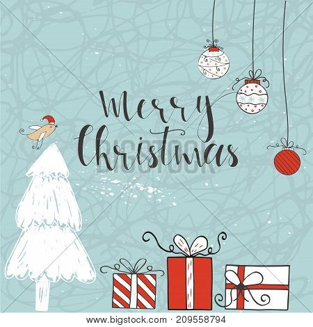 Christmas Illustration With Handdrawn Lettering
