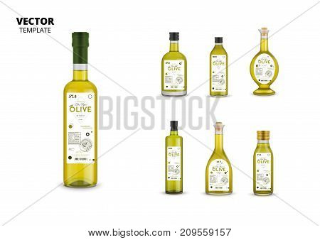 Realistic extra virgin olive oil glass bottles with labels. Layout of food identity branding, modern packaging design. Traditional healthy product, organic vegan nutrition vector illustration