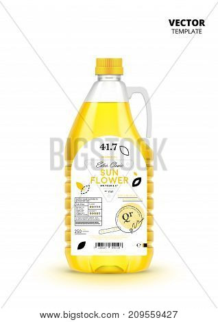 Extra virgin sunflower oil plastic bottle with label isolated on white background. Layout of food identity branding, modern packaging design. Healthy organic and natural product vector illustration