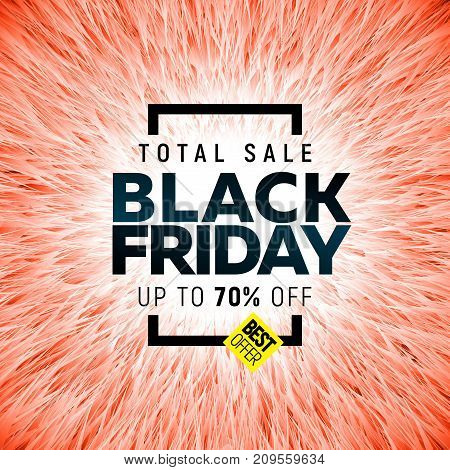 Black friday sale banner with bright abstract background
