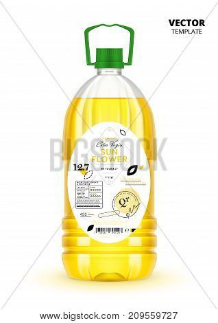 Extra virgin sunflower oil realistic plastic bottle with label. Layout of food identity branding, modern packaging design. Healthy organic product, natural nutrition isolated vector illustration