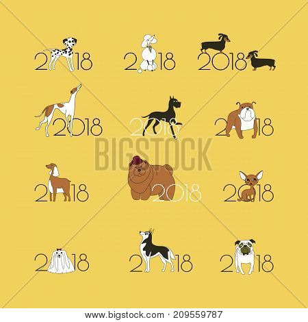 2018 - the year of the dog to the Eastern calendar. 12 logos with different breeds of dogs. Minimalism. Isolated. Vector illustration