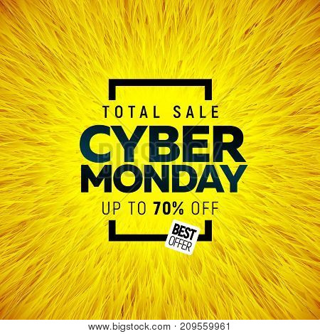 Cyber Monday Big sale banner bright color design with round abstract background. Vector illustration template