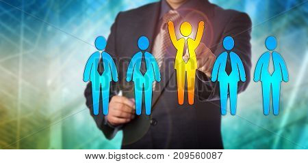 Unrecognizable recruitment agent selecting the winning candidate in an all male lineup. Human resources concept for leadership finding the right employee career achievement and talent management.