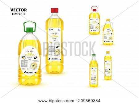 Premium extra virgin sunflower oil realistic plastic bottles with labels. Layout of food identity branding, modern packaging design. Healthy organic product, natural nutrition vector illustration