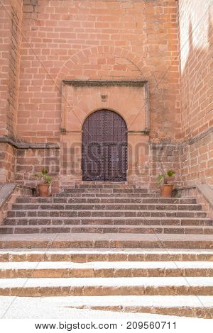 Stairs And Door In Church San Mateo In Banos De La Encina