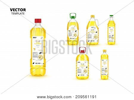 Extra virgin sunflower oil plastic bottles with labels isolated on white background. Layout of food identity branding, modern packaging design. Healthy organic and natural product vector illustration