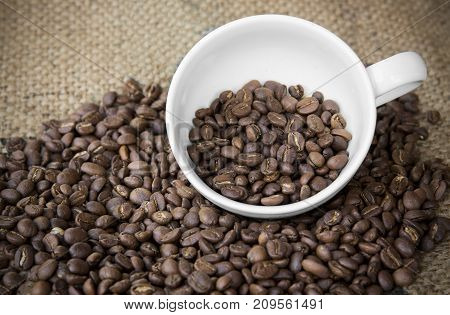 arabica coffee beans in coffee cup with sack cloth background.roasted coffee beans pattern