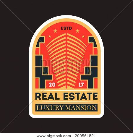 Private real estate vintage isolated label. Modern city construction badge, urban architecture vector illustration.