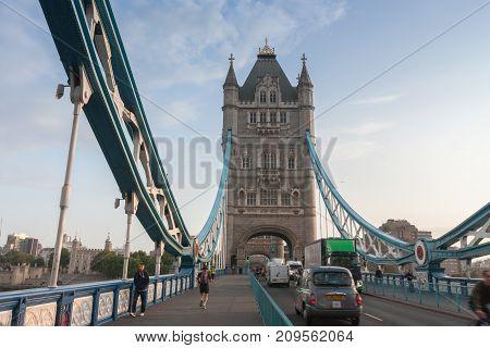 Tower Bridge, London-September 7,2017: Tourists walking and traffic on Westminster bridge on September 7, 2017 in London United Kingdom