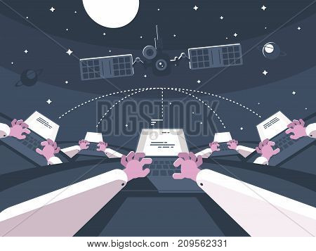 Communication and electronic messaging. Correspondence at distance with laptop. Vector illustration