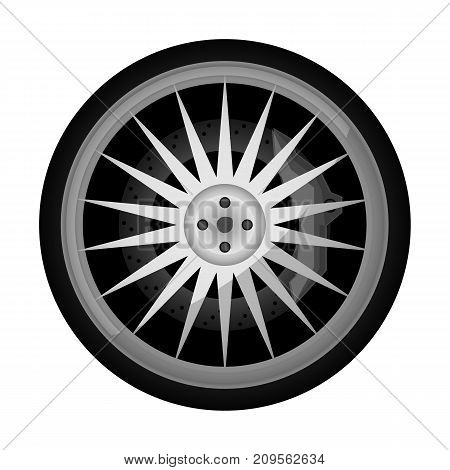 Sport car titanium rim icon. Consumables for car, auto service concept, wheel vehicle isolated on white background vector illustration.