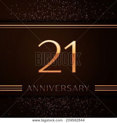 Realistic Twenty one Years Anniversary Celebration Logotype. Golden numbers and golden confetti on brown background. Colorful Vector template elements for your birthday party