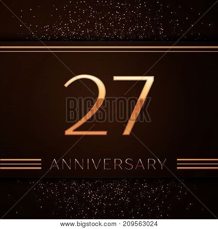 Realistic Twenty seven Years Anniversary Celebration Logotype. Golden numbers and golden confetti on brown background. Colorful Vector template elements for your birthday party
