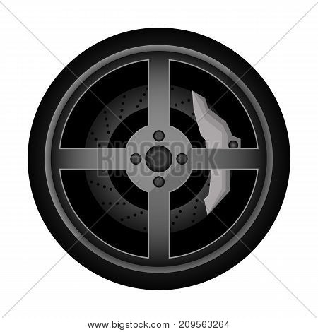 Road car rim icon. Consumables for car, auto service concept, wheel vehicle isolated on white background vector illustration.
