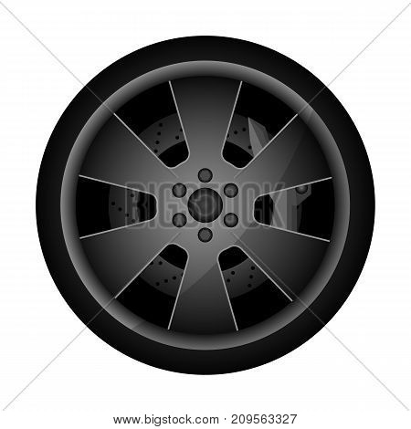 Metal auto rim icon. Consumables for car, auto service concept, wheel vehicle isolated on white background vector illustration.