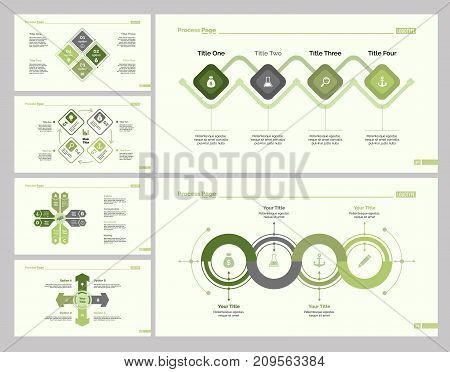 Infographic design set can be used for workflow layout, diagram, annual report, presentation, web design. Business and planning concept with process, cycle, flow, option and percentage charts.
