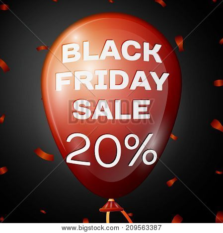 Realistic Shiny Red Balloon with text Black Friday Sale Twenty percent for discount over black background. Black Friday balloon concept for your business template. Vector illustration