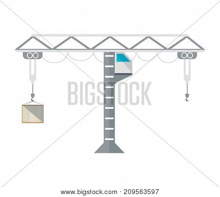 Tower cargo crane isolated icon. Worldwide delivery service, logistic company vector illustration isolated on white background.