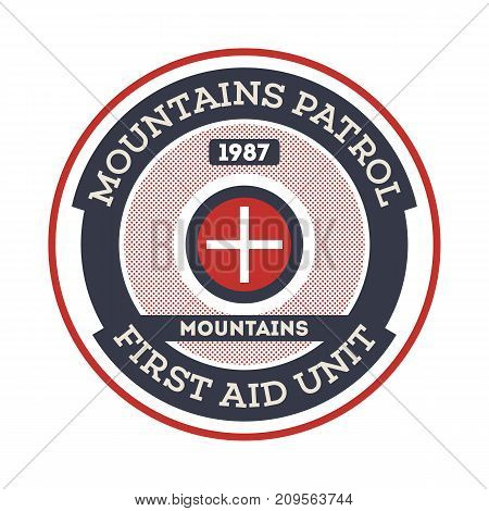 Mountains patrol isolated label. Search and rescue badge, adventure outdoor emblem, expedition help vintage vector illustration