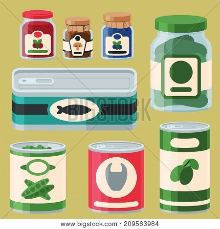 Collection of various tins canned goods food metal conserve nutrition and glass container vector illustration. Grocery store product metallic packaging vegetable groceries.