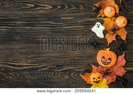 Halloween holiday background with cookies leaves and spider. View from above.