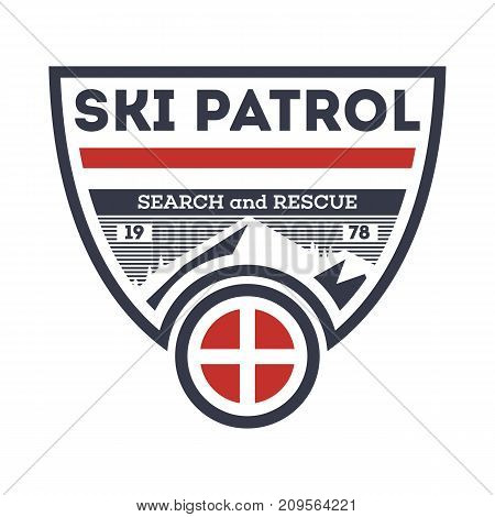 Ski patrol, search and rescue isolated vintage label. Hiking and climbing badge, adventure outdoor emblem, expedition help vintage vector illustration