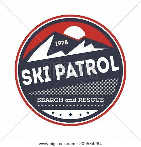Ski patrol isolated vintage label. Search and rescue badge, adventure outdoor emblem, expedition help vintage vector illustration