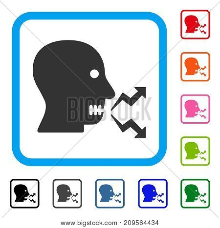 Angry Person Shout icon. Flat gray pictogram symbol inside a light blue rounded squared frame. Black, gray, green, blue, red, orange color additional versions of Angry Person Shout vector.