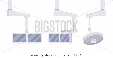 Medical monitor and light set. Surgery options, patient equipment and accessories, visualization and viewing. Vector flat style cartoon illustration on white background