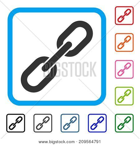 Chain Link icon. Flat grey iconic symbol in a light blue rounded squared frame. Black, gray, green, blue, red, orange color versions of Chain Link vector. Designed for web and application UI.