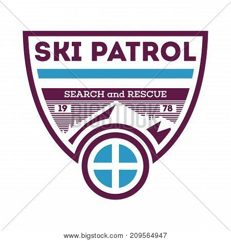 Ski patrol, search and rescue isolated label. Hiking and climbing badge, adventure outdoor emblem, expedition help vintage vector illustration