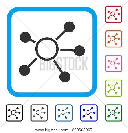 Connections icon. Flat gray iconic symbol inside a light blue rounded square. Black, gray, green, blue, red, orange color versions of Connections vector. Designed for web and app user interface.